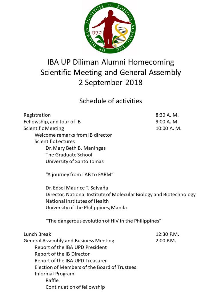 IBA Alumni Homecoming Schedule of Activities